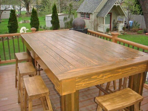 My Oversized Outdoor Bar Height Table That I Built Outdoor Bar Height Table Outdoor Tables Diy Outdoor Furniture