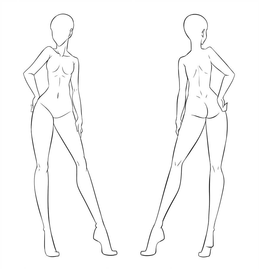 Ftu Clothes Model Front And Back Female By Izumi Sen Fashion Figure Drawing Fashion Figures Croquis Fashion