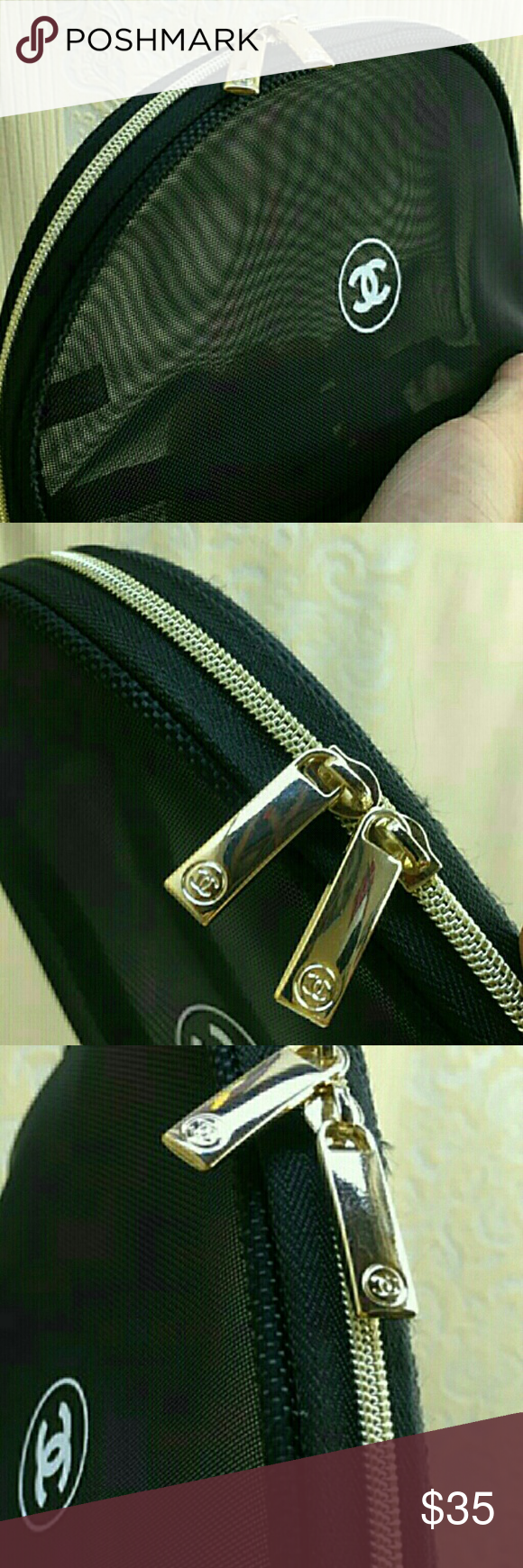 chanel vip cosmetic bag New, gold hardware. double zipper, mesh fabric.  From chanel parfums, not chanel boutique。 chanel Bags Cosmetic Bags   Cases d18510a0e1