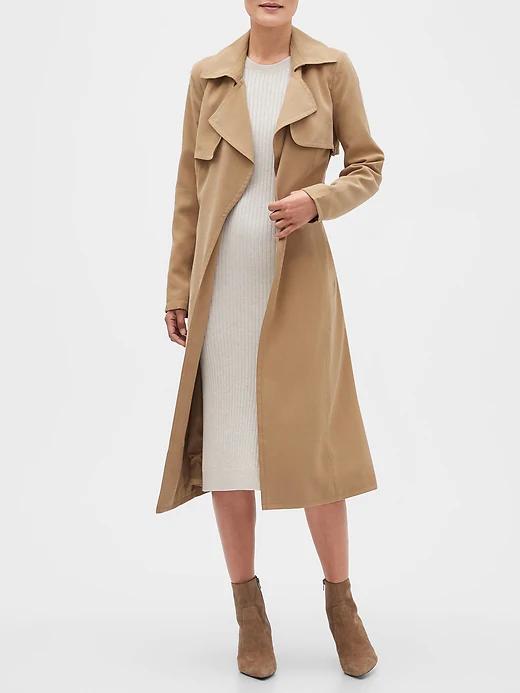 Long Soft Trench Coat Banana Republic Factory Coat Outfits Wool Trench Coat Women Fall Fashion Coats