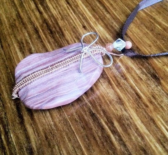 Copper wire wrapped pink striped jasper stone with by creationsake on etsy