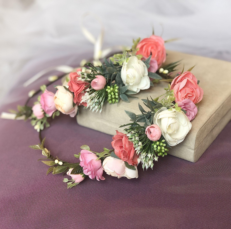 Blush pink flower crown wedding floral headpiece boho bridal floral crown flower...,  #Blush ... #flowerheadwreaths