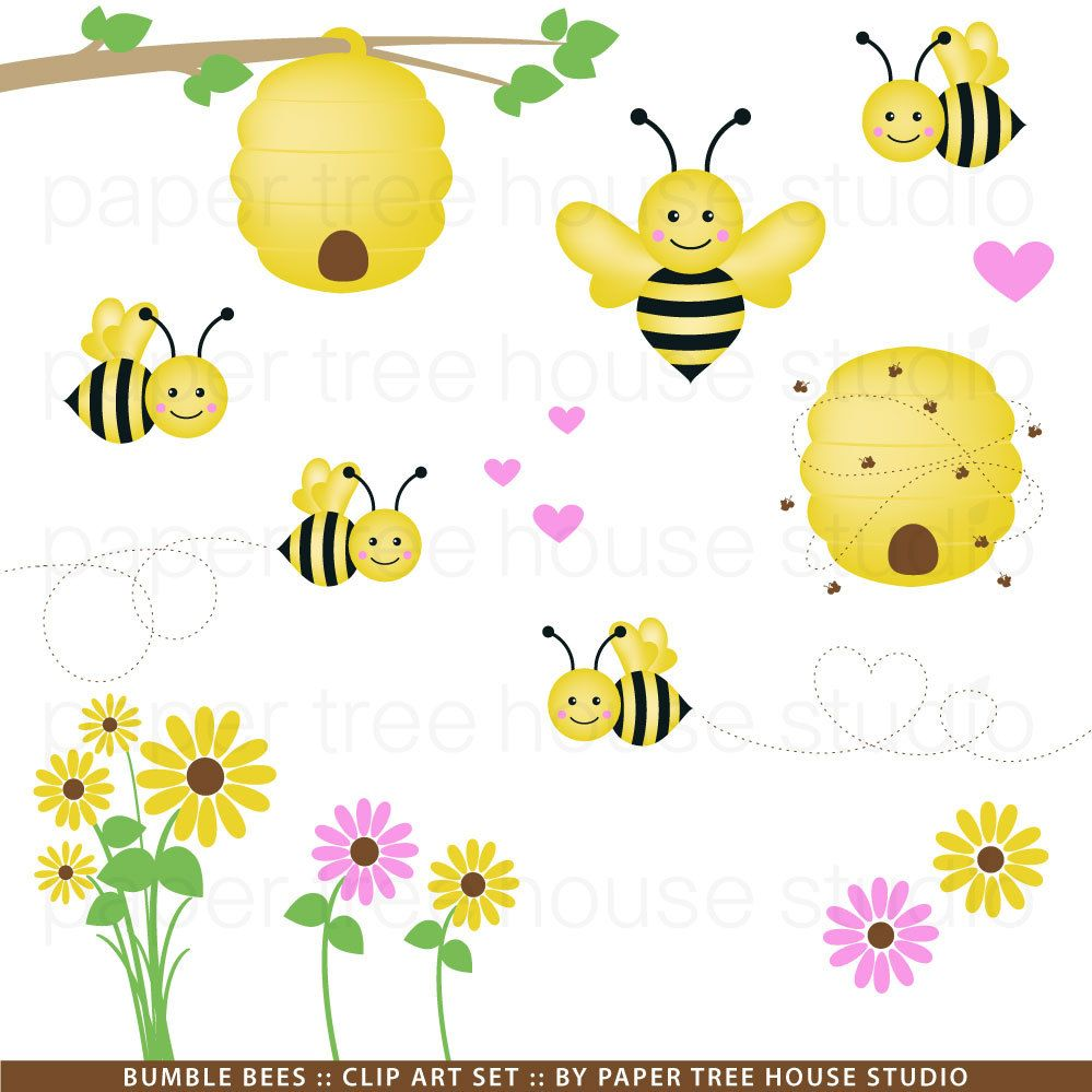 Clip Art Set - Bumble Bees, Hearts and Flowers - Yellow, Black and ...