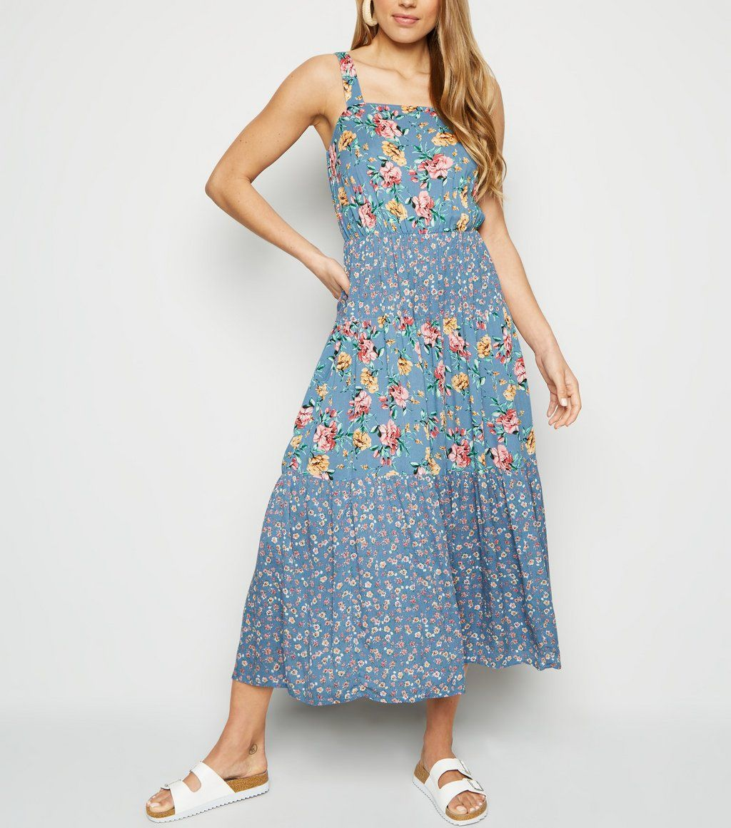 c7ff20b958095 Blue Mixed Floral Tiered Midi Dress in 2019 | Fashion | Dresses, New ...