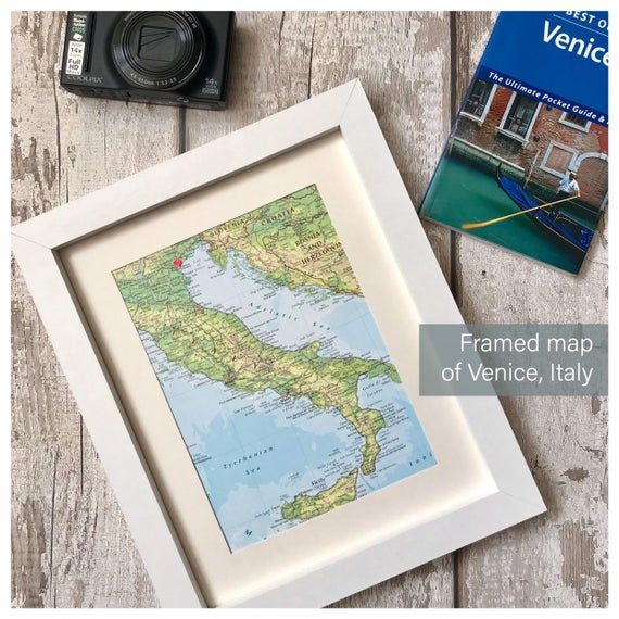 Photo of Personalised map of Venice Italy, unique engagement wedding keepsake gift, add date names location, framed map wall art, map poster print