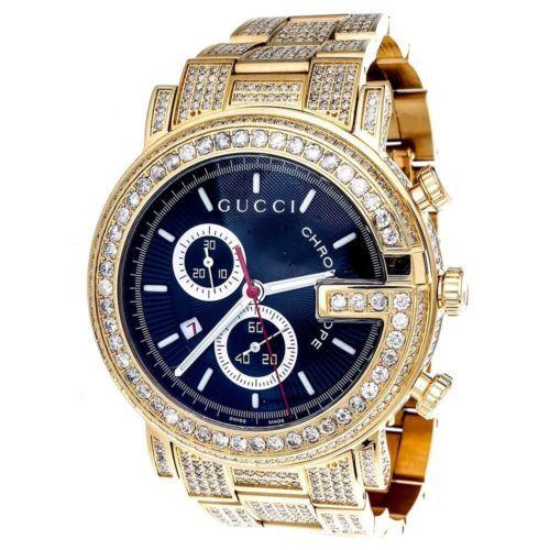 f82dd2e5ba169 Diamante-Gucci-ya101334-Reloj-9-50-Ct-Nueva-Personalizada-Para-Hombre -101-G-Oro-Pvd-Real-44-Mm