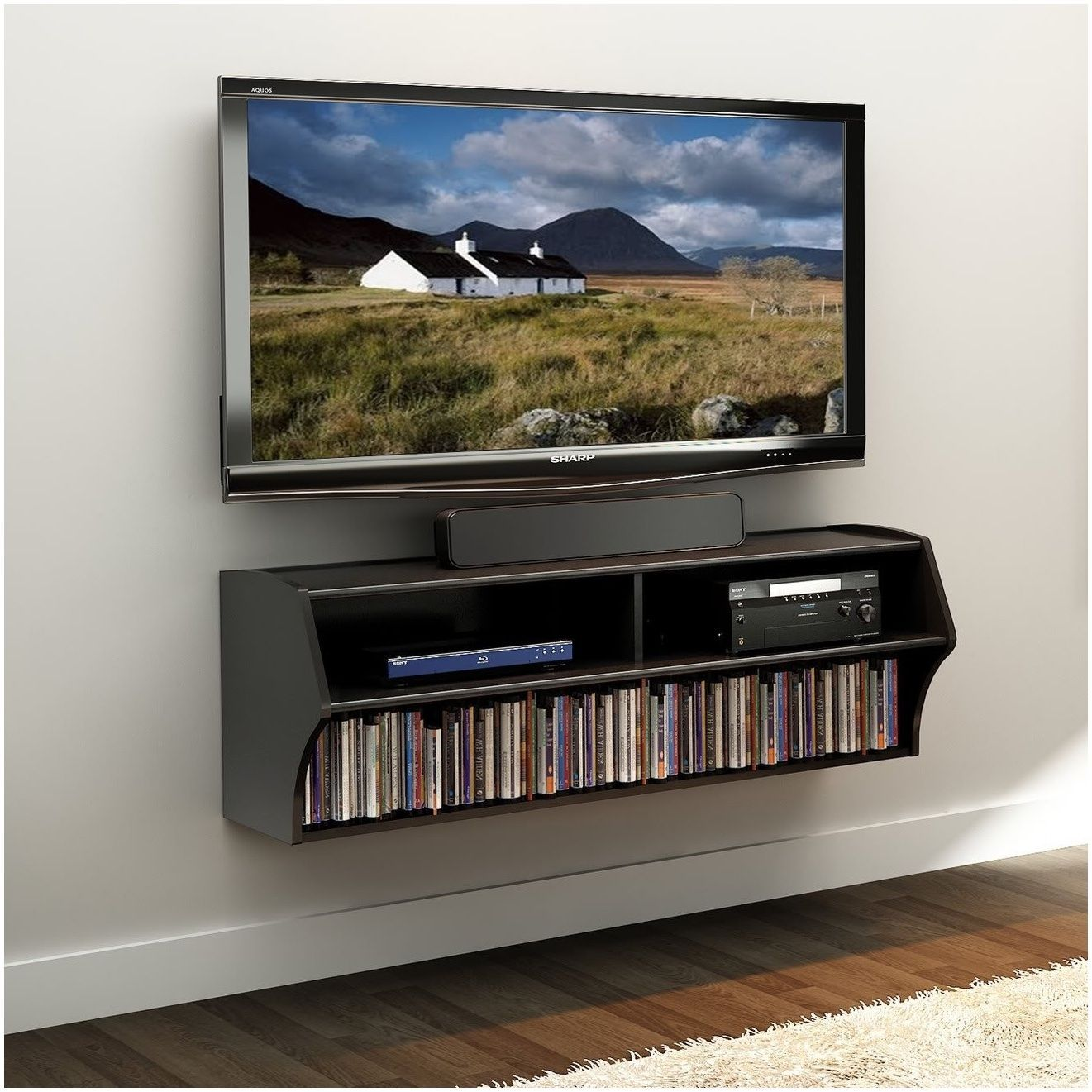 Shelf For Cable Box Under Wall Mounted Tv Black Walls Prepac Home