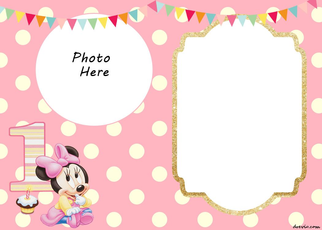 Free Printable Minnie Mouse 1st Invitation Templates Drevio Invitations Design