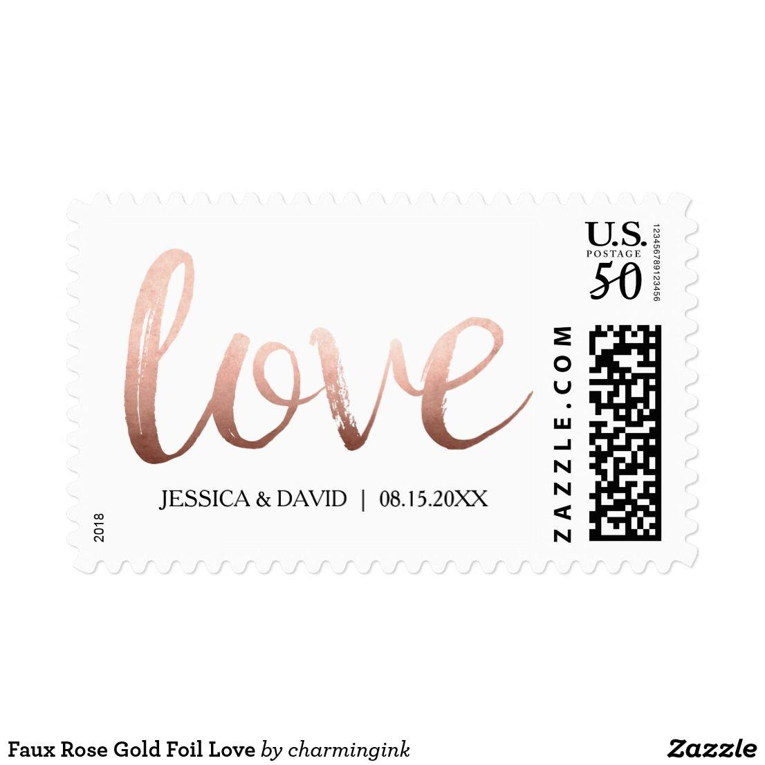 Faux Rose Gold Foil Love Postage Zazzle Com Rose Gold Foil