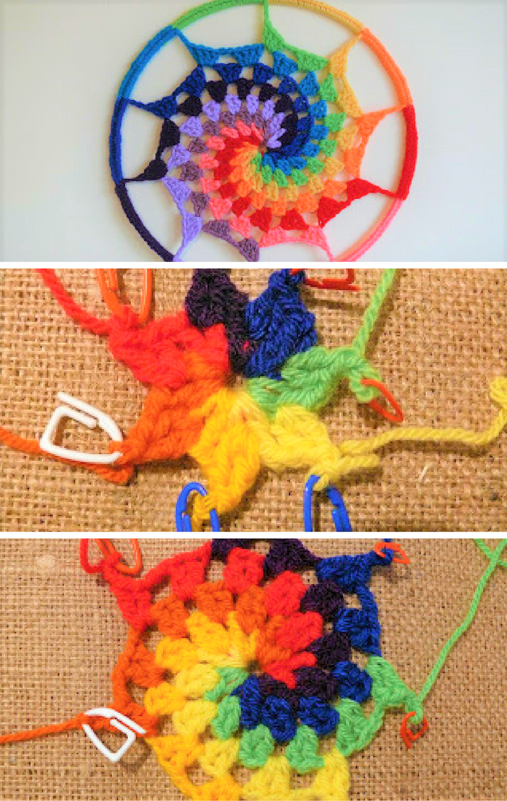 How to Crochet a Rainbow, Spiral Dream Catcher. Part 1 | Traumfänger ...