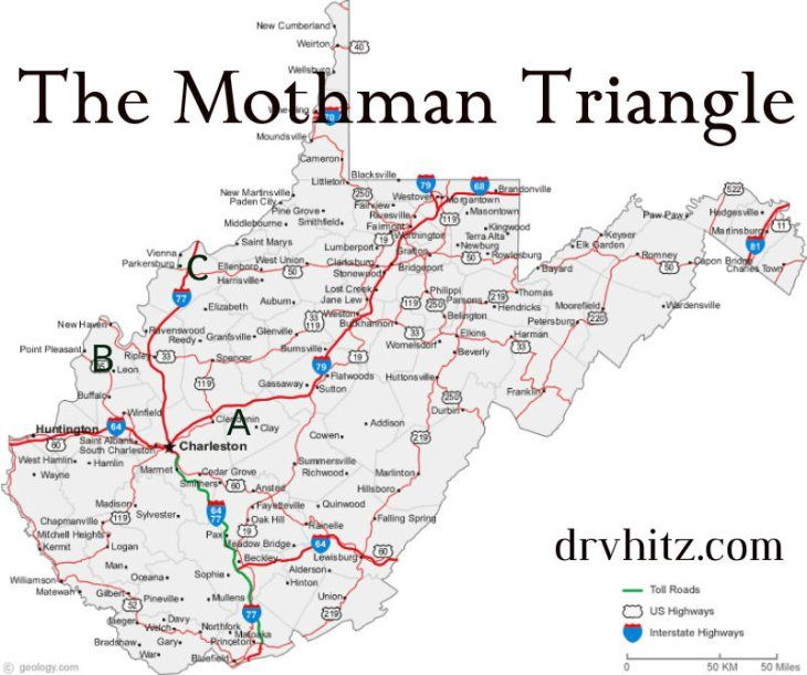 3 key locations in the Mothman Mythos | Map of west virginia ...
