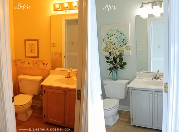 $200 Powder Room Makeover | Raleigh NC Interior Design ...
