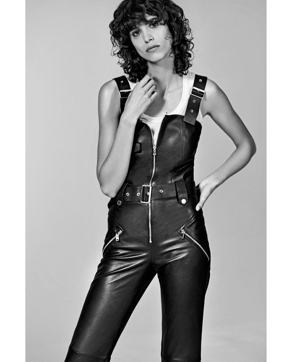 short leather studio jumpsuit jumpsuits woman zara. Black Bedroom Furniture Sets. Home Design Ideas