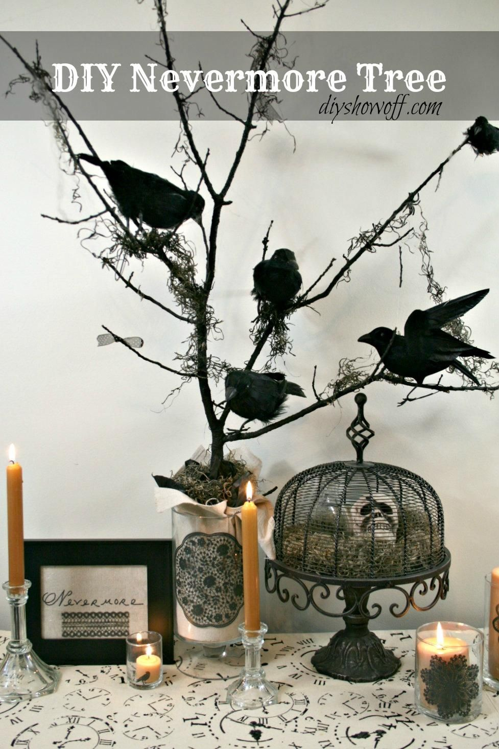 Halloween decorations  DIY Halloween Nevermore Tree decor - Halloween Decoration Ideas Pinterest