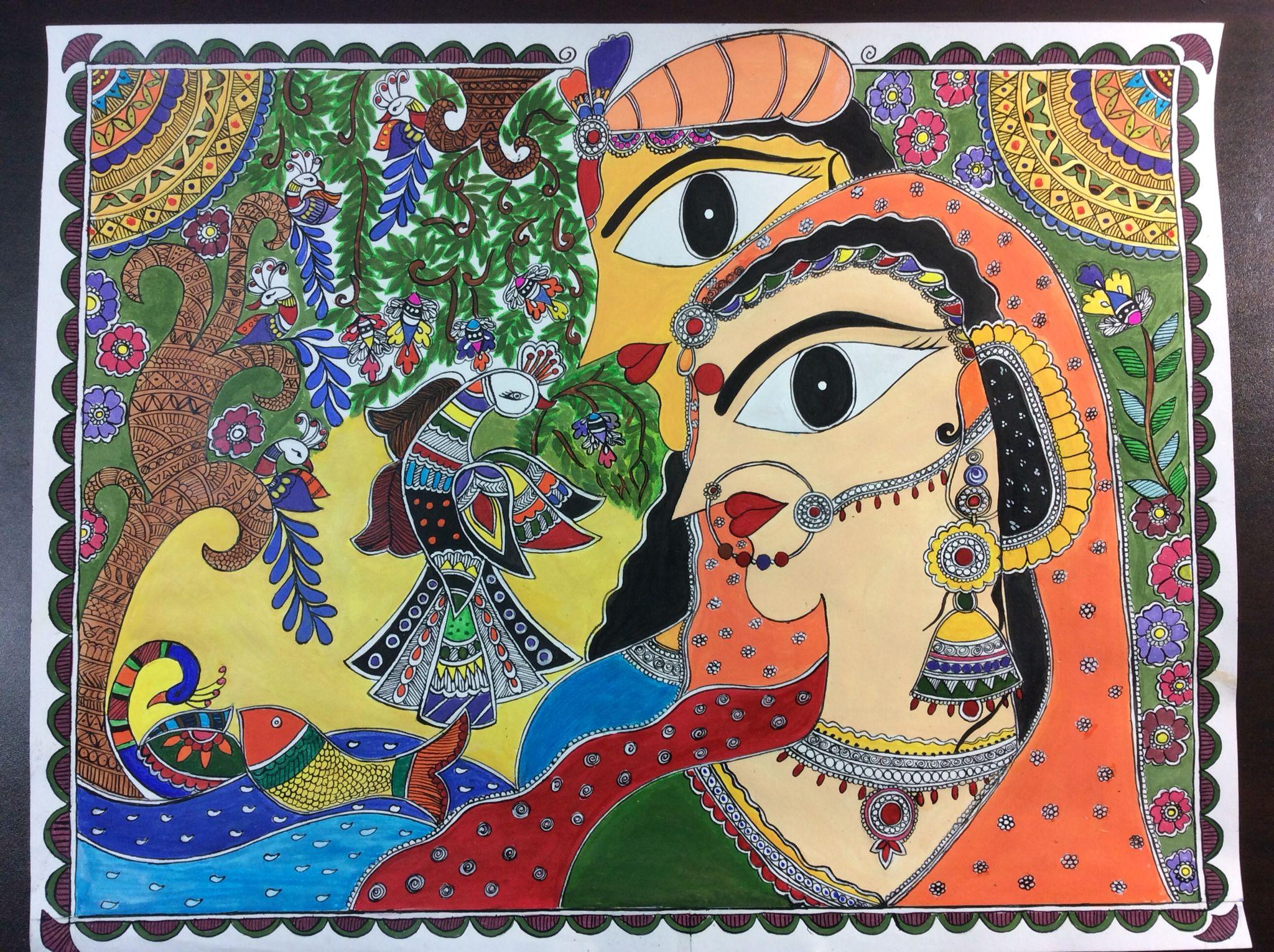 Handmade Madhubani painting with acrylic colors
