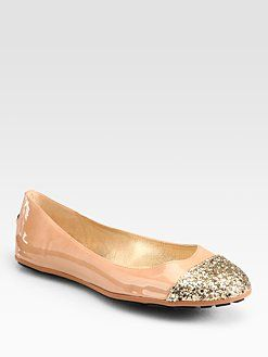 51861ea6f2e1 Jimmy Choo - Whirl Glitter-Coated Patent Leather Ballet Flats