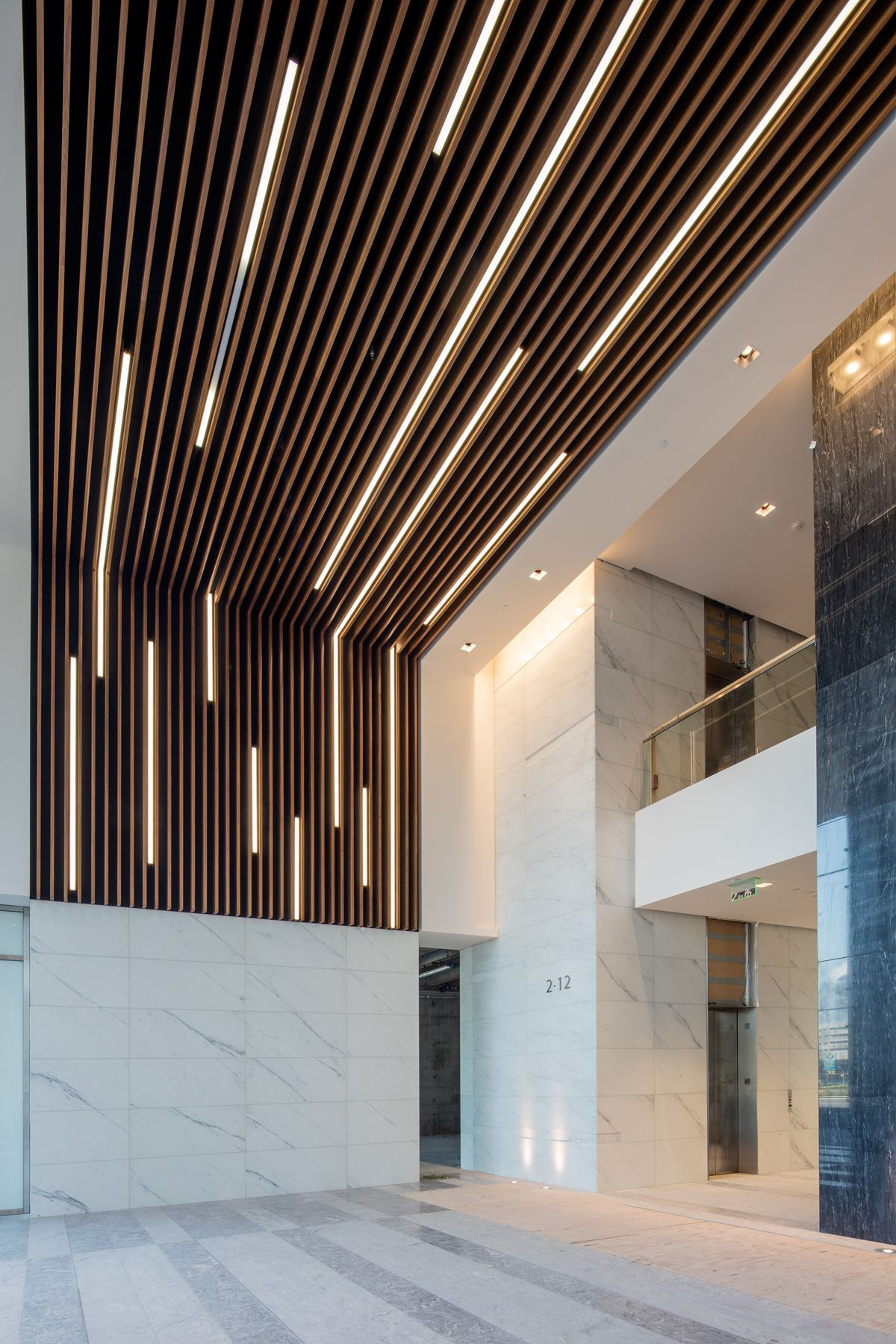 Wood Slat Ceiling with Linear Light