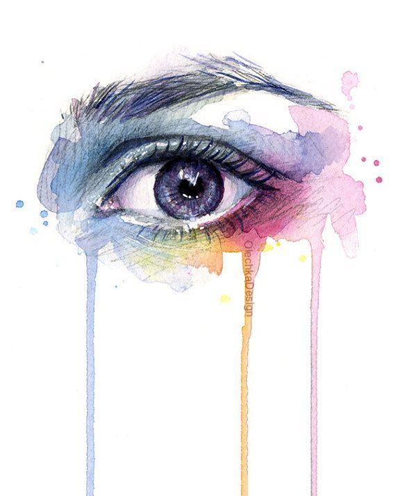 Schone Auge Tropfenregenbogen Aquarell Kunstdruck Surreale Auge