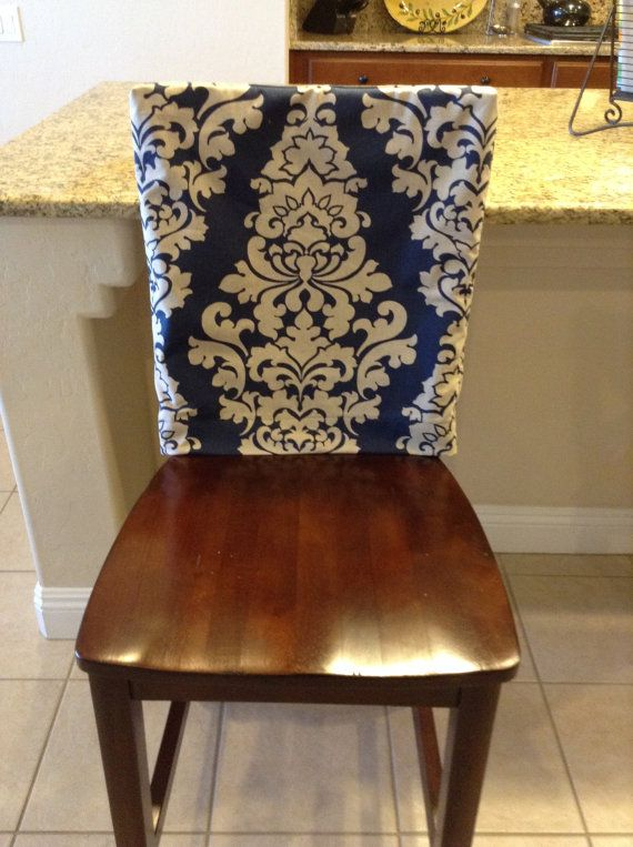 Indigo Fitted Chair Back Cover Ktichen Or Dining Room Chair Slipcover Linen Blend Damask P Dining Room Chair Slipcovers Chair Back Covers Dining Chair Covers