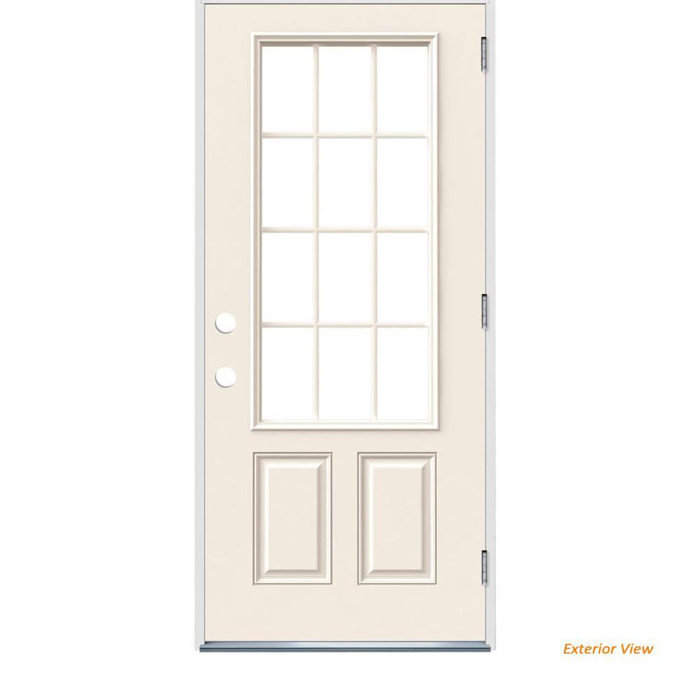 Jeld Wen 36 In X 80 In 12 Lite Primed Steel Prehung Left Hand Outswing Front Door Thdjw190900030