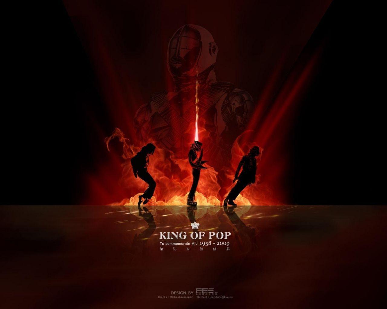 Download Wallpaper 1280x1024 michael jackson, king, dance, silhouette, fire 1280x1024 HD Background