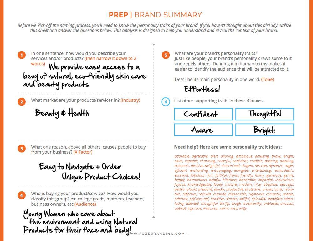 Brainstorm Worksheet School Stuff Naming Your Business