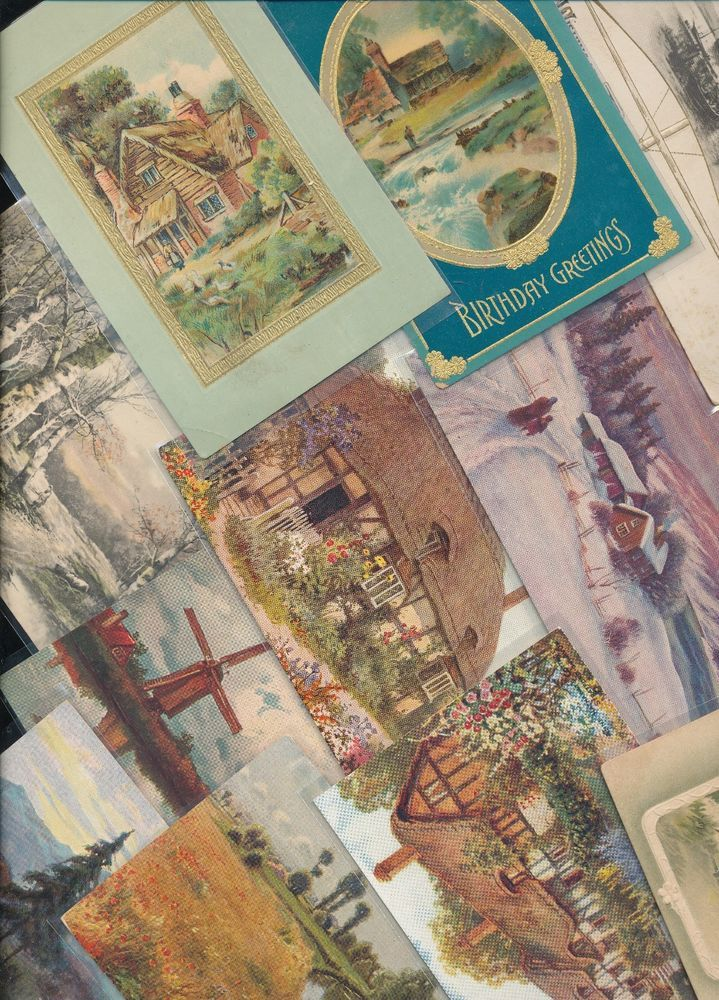 Huge Lot of 85  Vintage Postcards with Cottage & Various Scenes Scenic-a-83