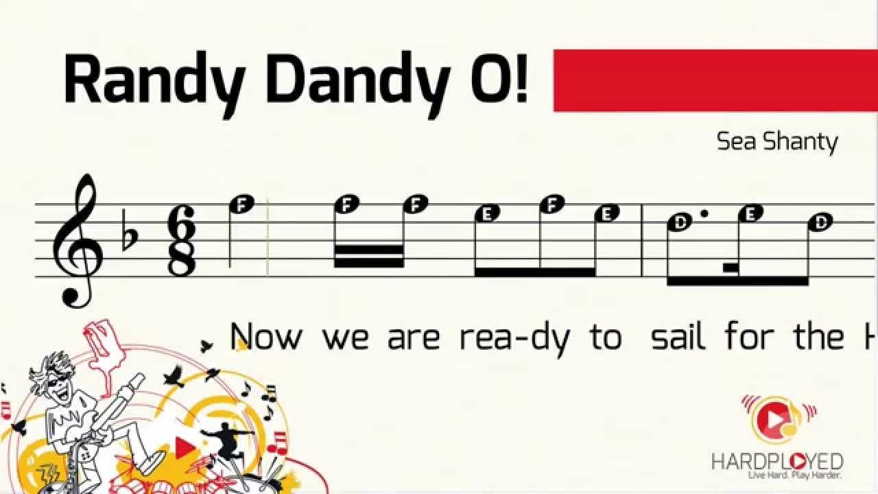 Sheet Music Randy Dandy O Pirate Sea Shanty Recorder Flute