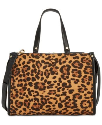 e7b41e863d6f I.n.c. Remmey Leopard-Print Satchel, Created for Macy's - Brown Clutch  Wallet, Tote