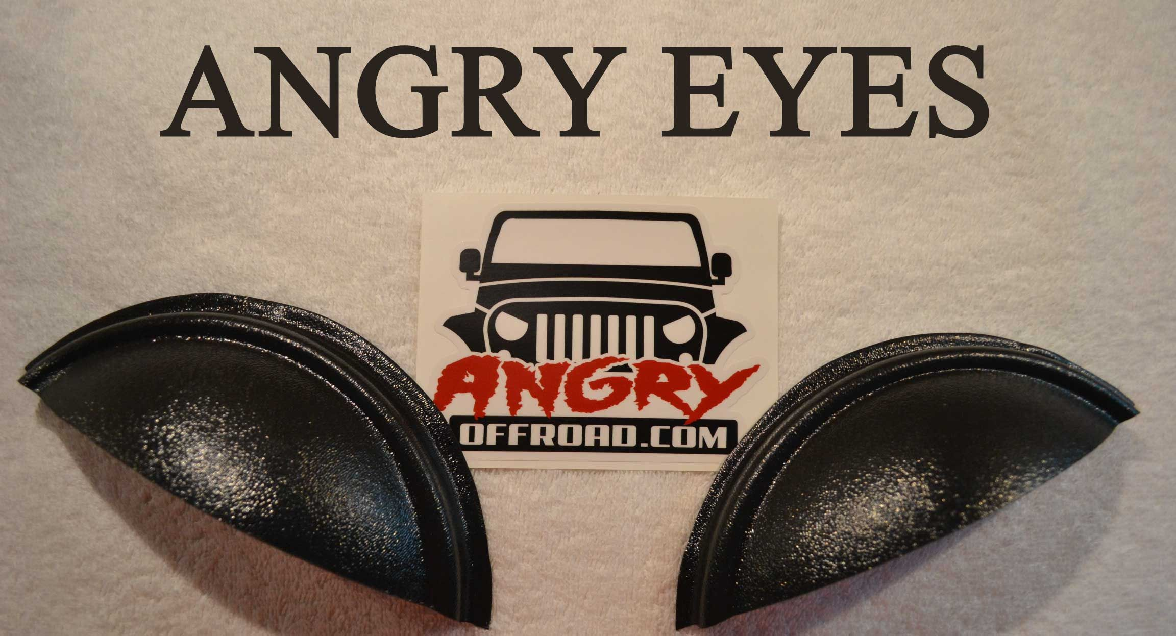 Angry Eyes Jeep Headlight Covers, Angry Eyes, Half Moon