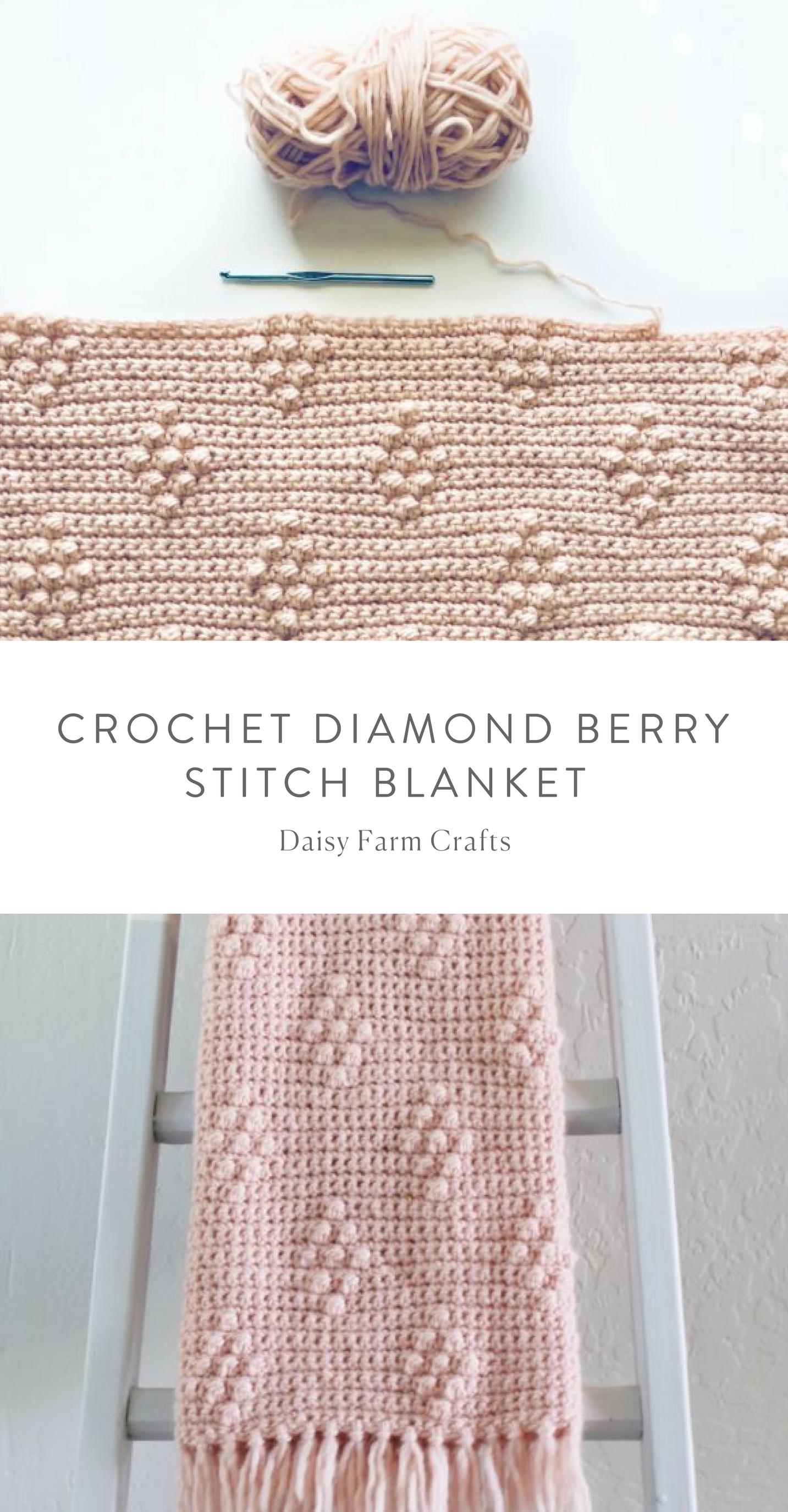 Crochet Diamond Berry Stitch Blanket | Daisy Farm Crafts | Pinterest ...