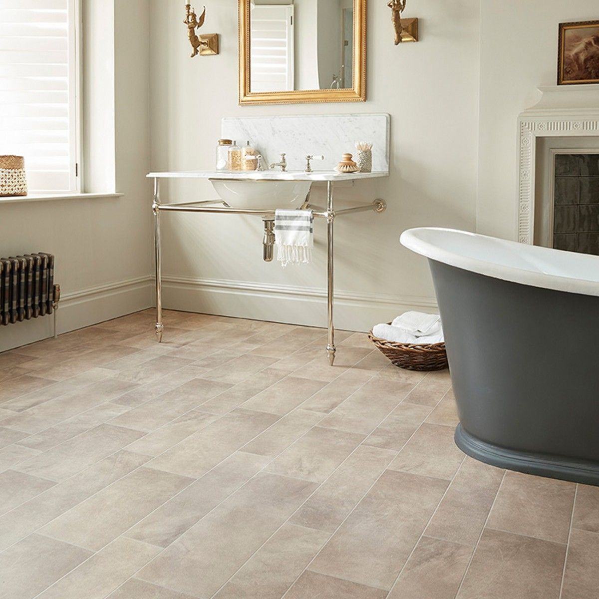 A Natural Stone Designs With Added Durability That Gives This Vinyl Flooring An Outstanding Acoustic And Bathroom Vinyl Vinyl Flooring Bathroom Vinyl Flooring