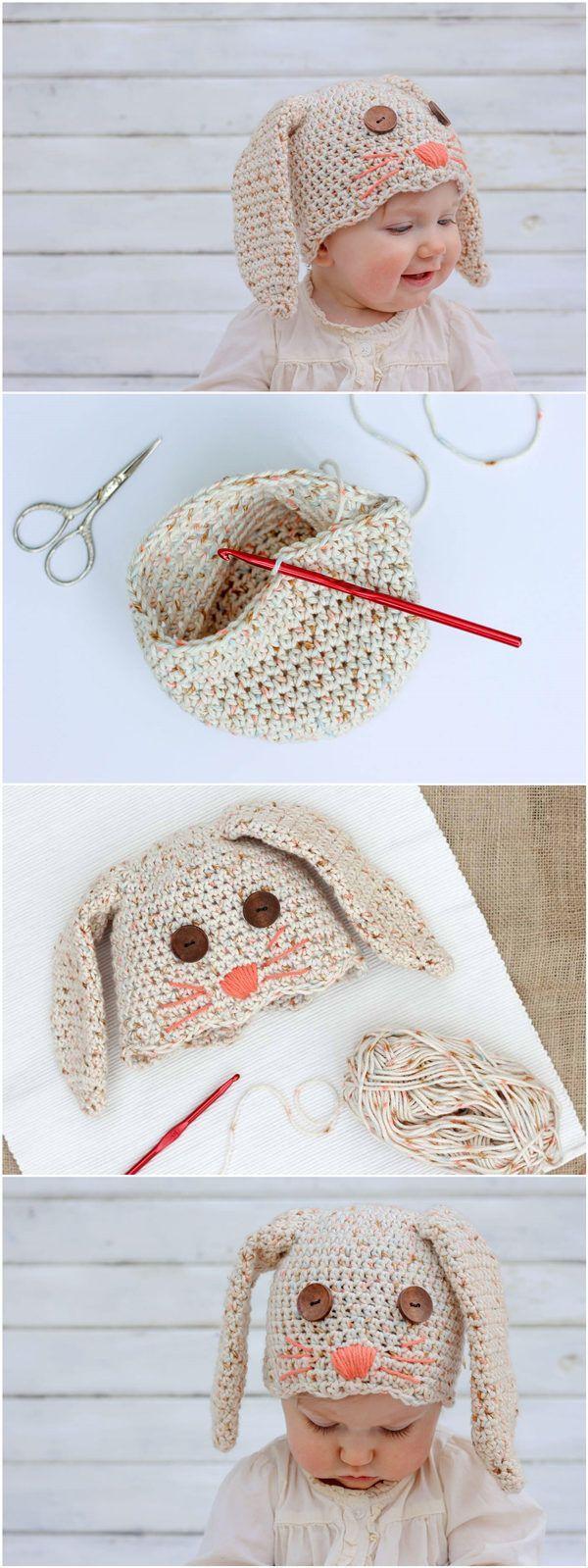 Free Crochet Bunny Hat Pattern #CrochetBeanie | Penelope | Pinterest ...