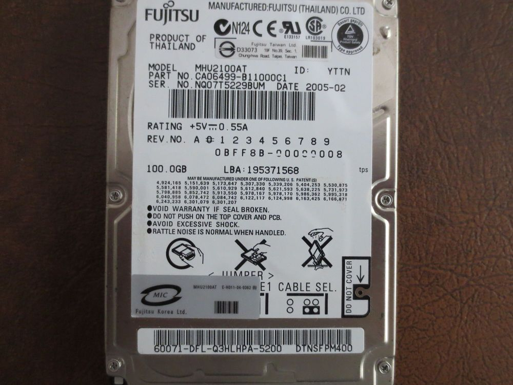 MHU2100AT CA06499-B11000C1 100gb  IDE Laptop Drive 00000008