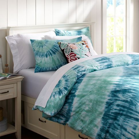Tie Dye Bedspread Fun Will Also Match Blue Ombre Curtains