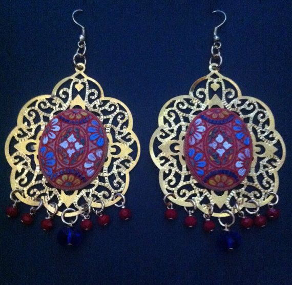 Spanish Gypsy R Earrings Red Gold Colbalt By Angelheartgypsy