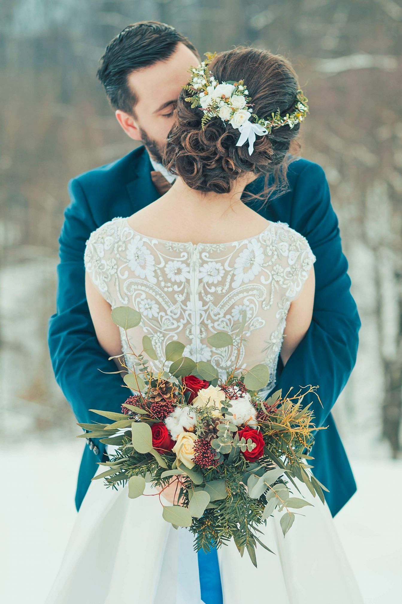 Our winter wedding in february colors navy blue burgundy and gold