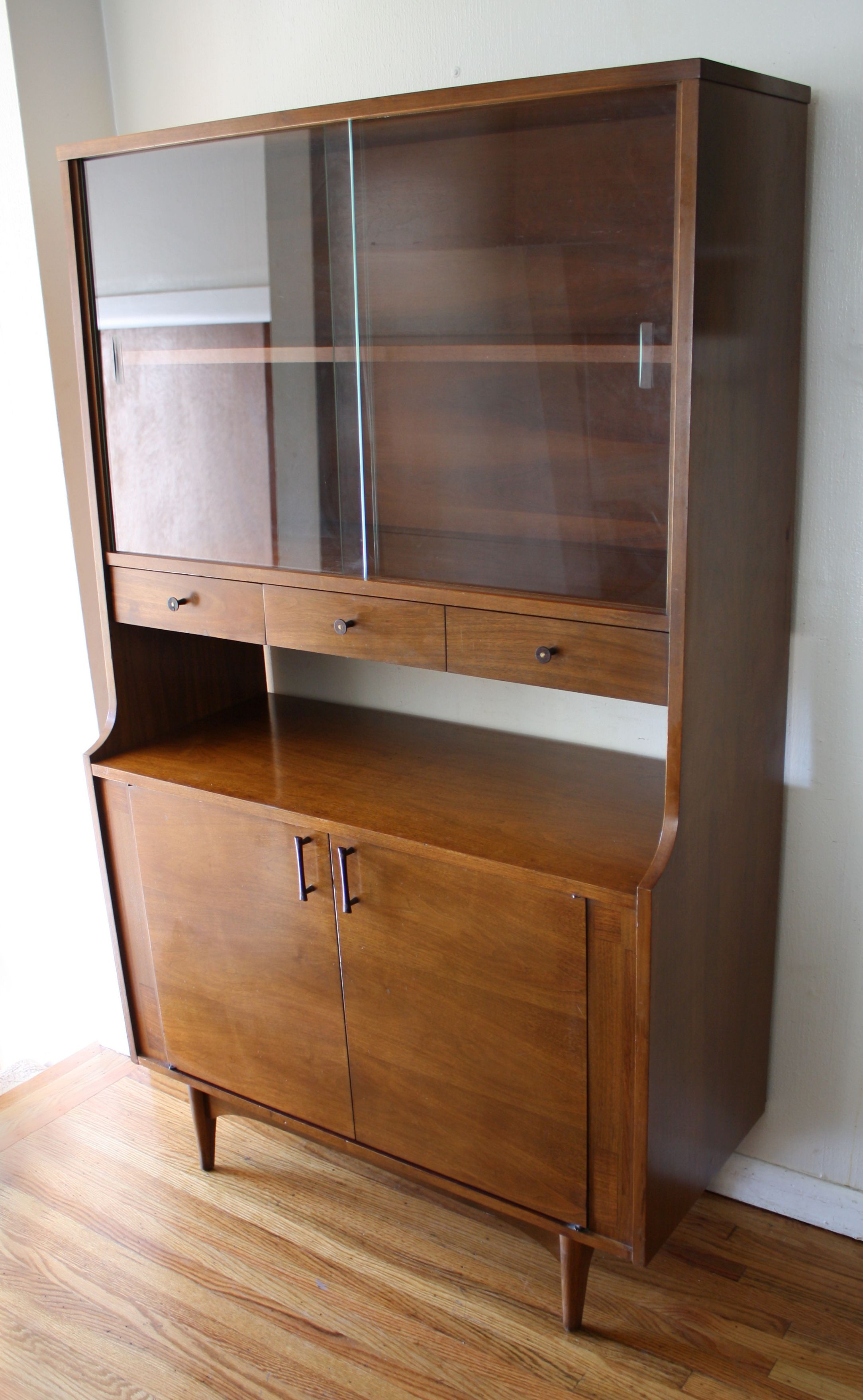 mid century modern china cabinet hutch with rosewood handles and