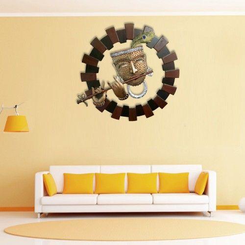 Krishna Playing Basuri Circular Wall Hanging | Wall Hangings: Buy ...