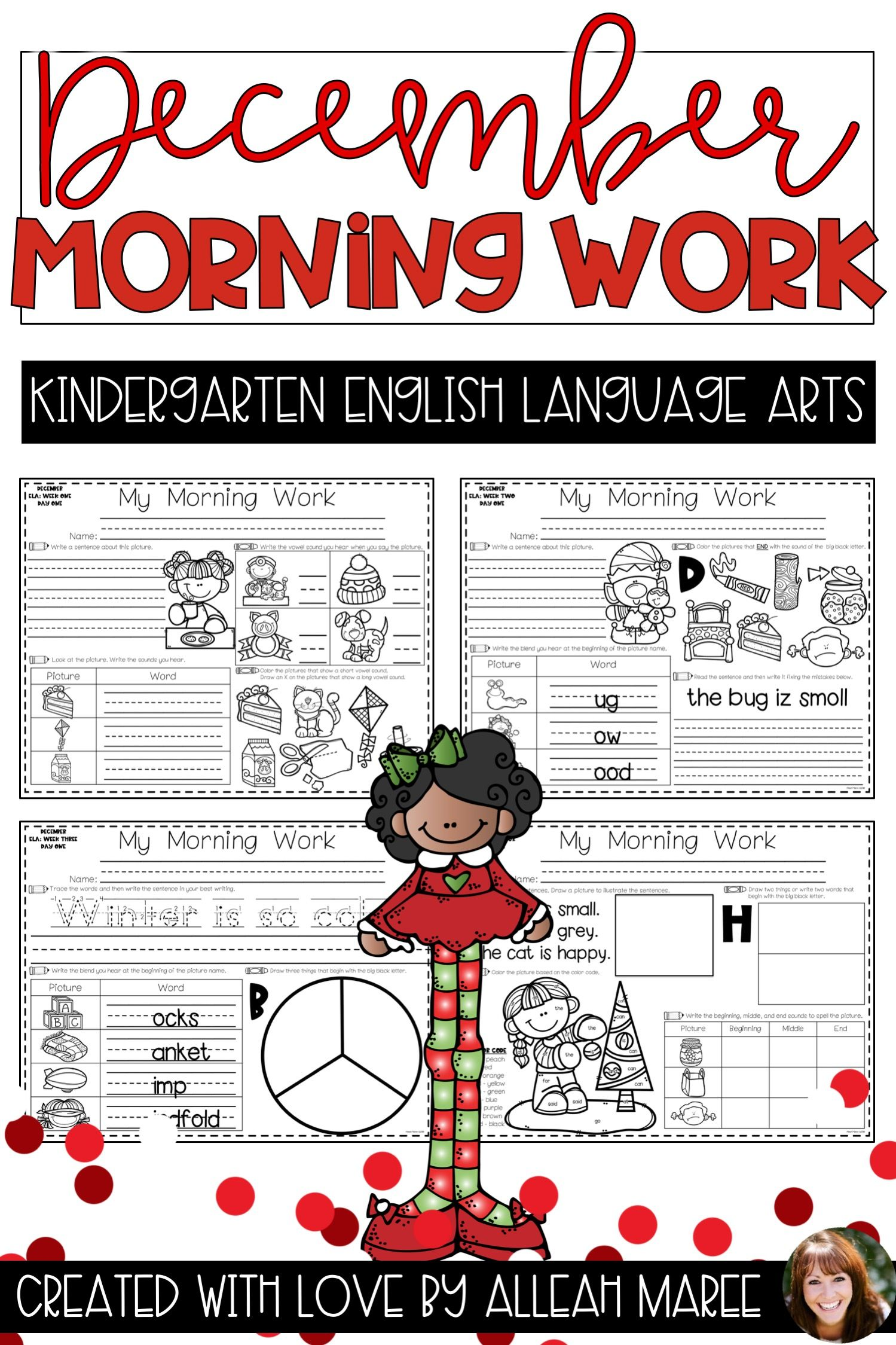 Kindergarten Morning Work Literacy Worksheets And