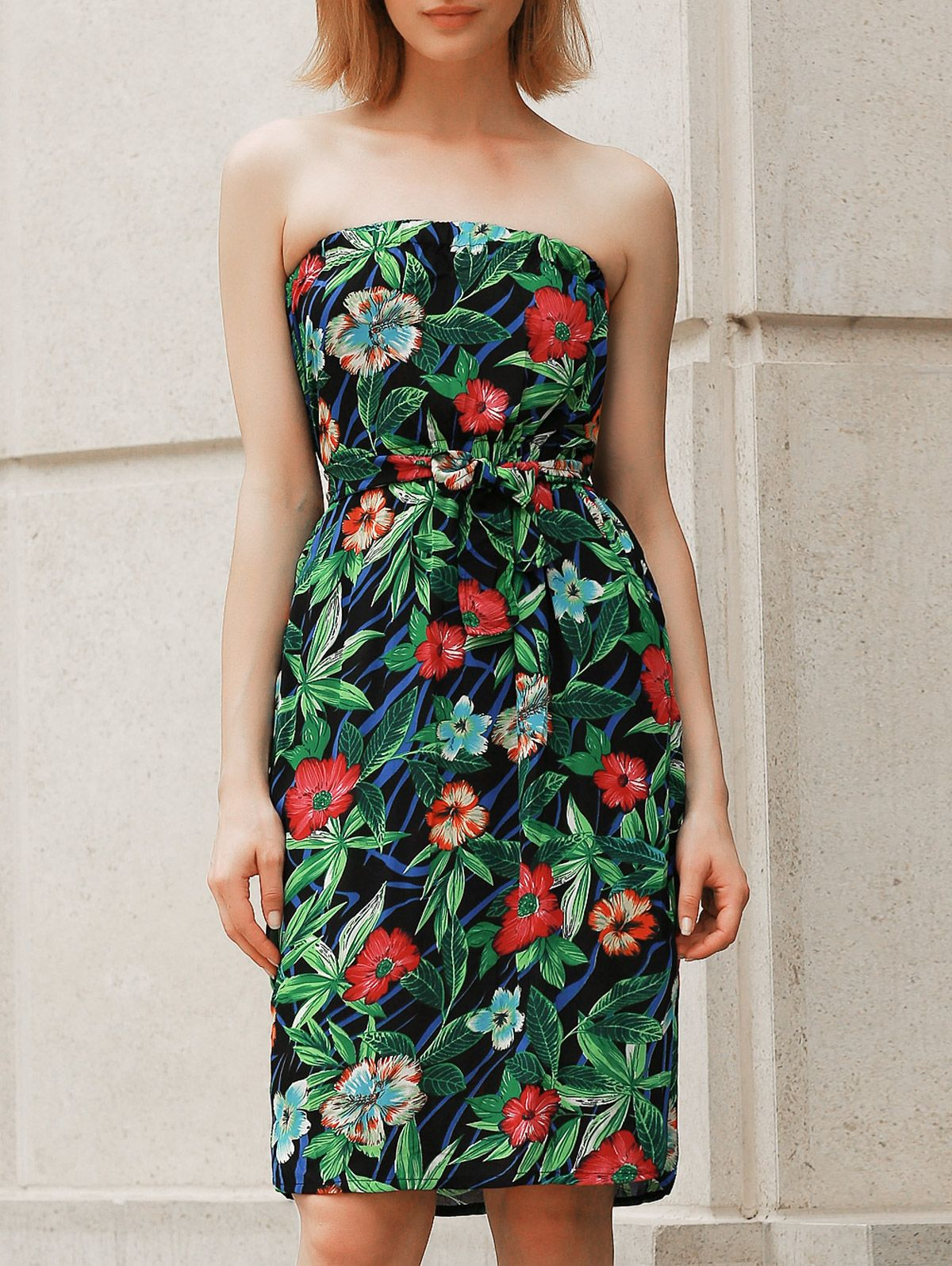 Bohemian Style Floral Print Strapless Dress For Women GREEN: Maxi Dresses | ZAFUL
