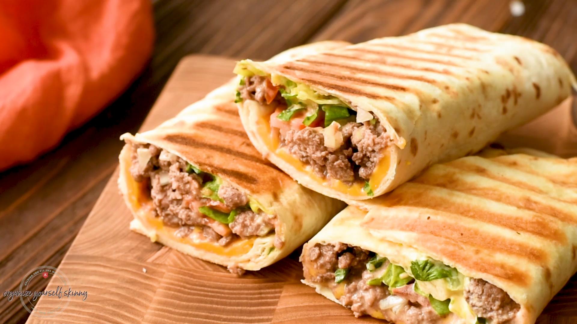 Healthy Cheeseburger Wrap Sandwich Recipe | Easy Meal Prep Recipes