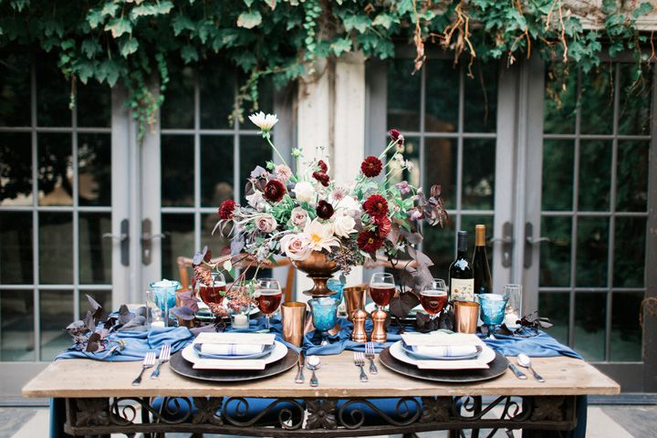 Unusual wedding theme fabmood.com #weddingtheme #bluewedding #weddinginspiration #weddingstyledshoot #weddingdesign