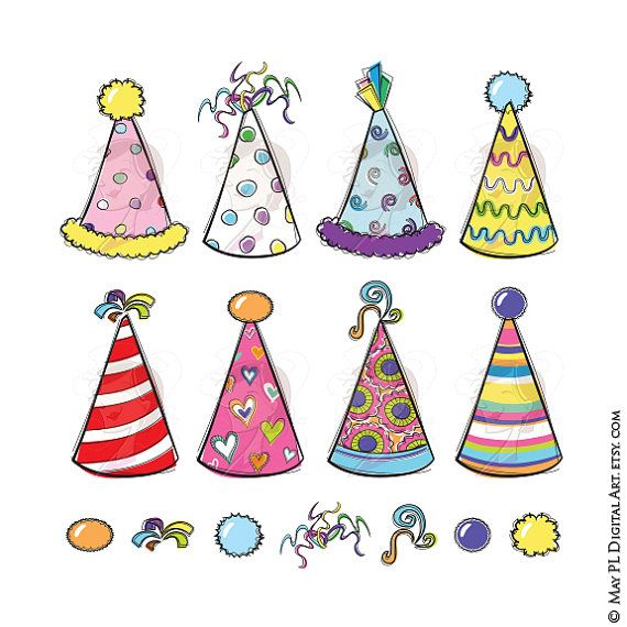 New Years Eve Clipart Party Hats Whimsy Birthday Cute Doodles Whimsical Vector Cardmaking Scrapbooking Craft Diy Tea Party Hats Christmas Party Hats Diy Party
