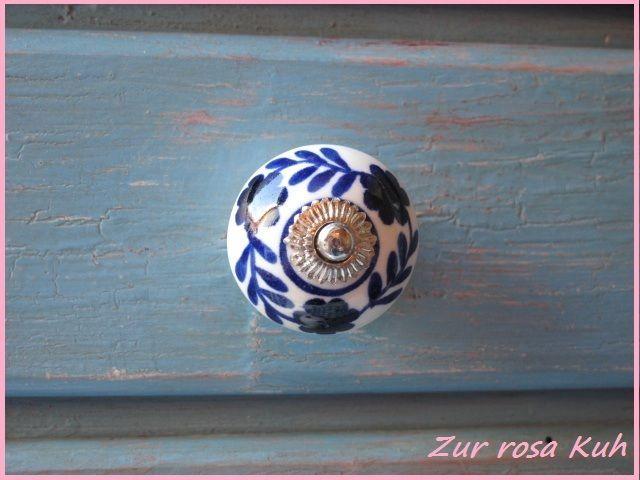 Harveys Home - Möbelknopf / Keramik Knauf - Blumen - dunkel blau - Landhaus