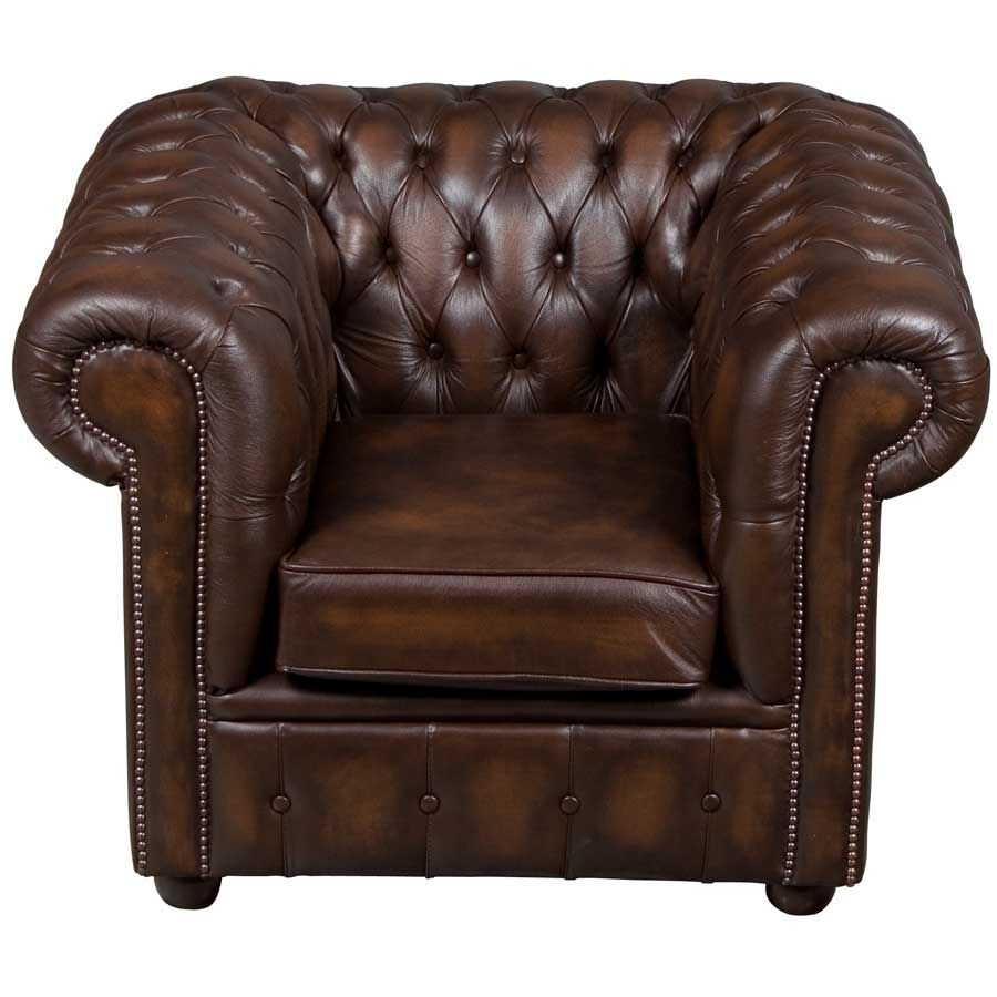 Brown Tufted Leather Club Chair