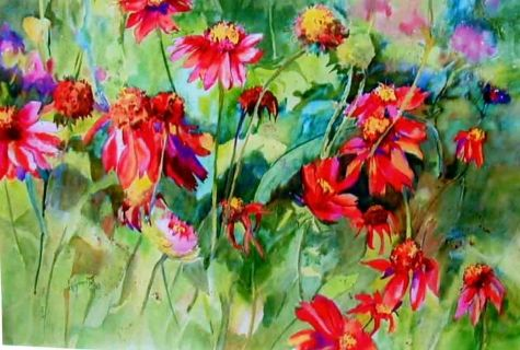 Gaillardias Galore - watermedia floral, painting by artist Kay Smith