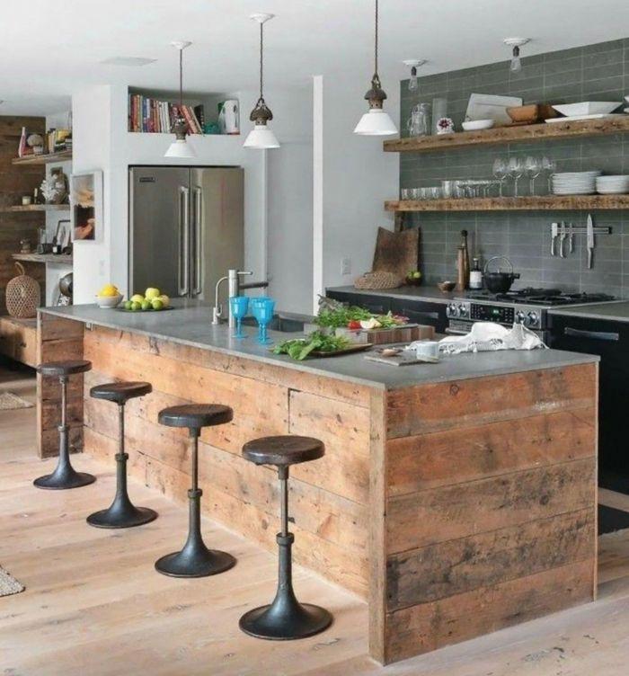 ▷ 1001 + ideas de diseño de cocinas de estilo industrial | Barra ...
