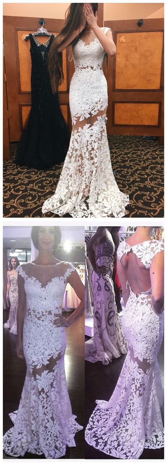 White lace prom dressesmermaid prom dresseslong evening dresses