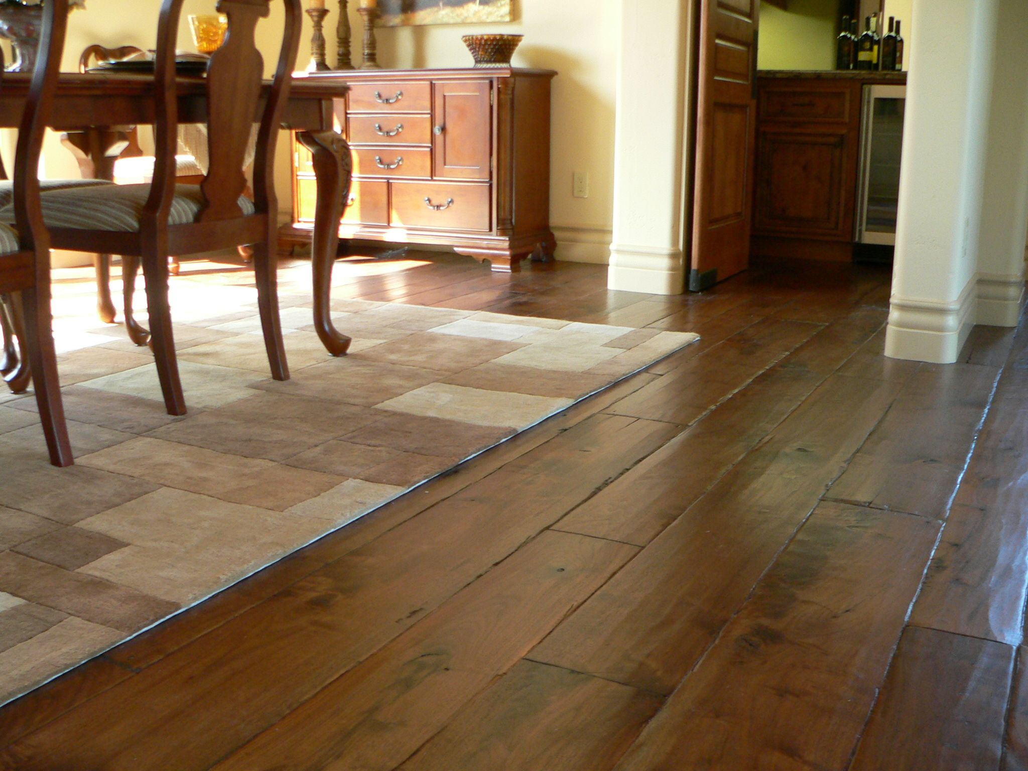 wide plank walnut hardwood flooring